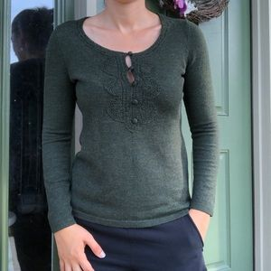 LOFT Green Merino Cashmere Blend Sweater Top